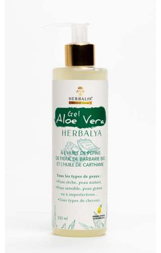 Flacon de gel aloe vera de la marque Herbalya Natural Care