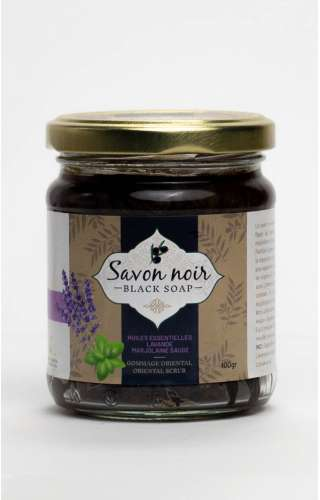 Photo du pot de savon noir au lavande, marjolaine et sauge de la marque Herbalya Natural Care